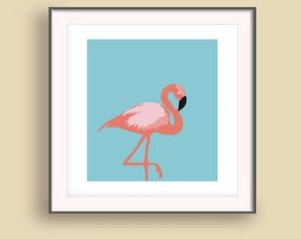 Flamingo wall print, Coastal digital, Flamingo wall art, Flamingo print, Beach 2017 art print, Blue Summer Wall Art