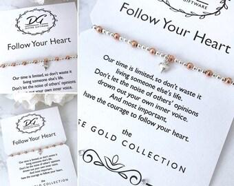 Follow Your Heart Rose/Silver Bracelet Gift Inspirational