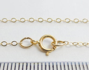 """16"""" 18"""" 14k Gold Filled 1.5x2mm Flat Cable Chain Delicate Light Finished Chain Necklace Bracelet Spring Clasp Wholesale Jewelry Supplies"""
