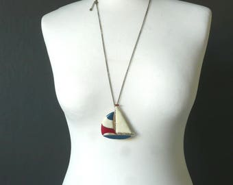 Enamel sail boat pendant - vintage enamel pendant - vintage yacht pendant - 1960s red white and blue enamel pendant