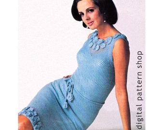 Crochet Dress Pattern Womens 1970s Vintage Flower Trim Dress Crochet Pattern Sleeveless Mesh Dress PDF Instant Download Size 10 12 14 - C57