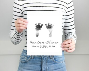 Baby Footprint Art Custom Footprint Wall Art - Foot Print Nursery Art Print Nursery Wall Art - New Baby Gift Personalized Baby Art New Mom