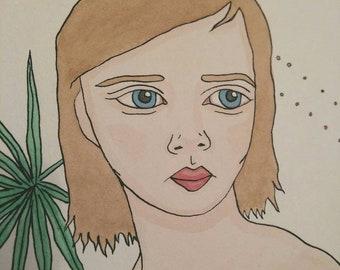 Tropical Portrait- Original watercolour painting on board, small portrait art, illustration, pop surrealism, lowbrow, white, plants, green,