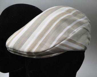 Flat Cap, Summer Flat Cap, Beige stripe men's flat cap, golf cap, driving cap.