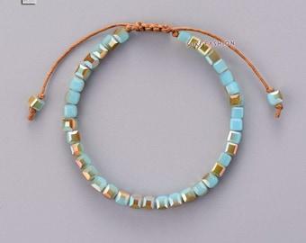 Turquoise Bead Friendship Bracelet Square Surf Beach Surfer Chakra Leather Pearl Tila beads