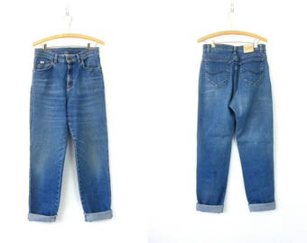 80s Mom Jeans High Waist Jeans Washed Out Denim Tapered Vintage Jeans Distressed Faded Blue Denim Trousers Womens Size 32 x 32