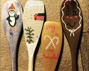 Christmas themed spoons and mason jars