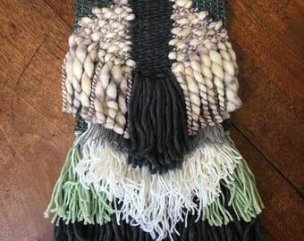 Green Weave, Woollen Wall Hanging, Lounge Room