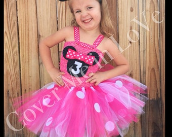 Pink and white Minnie Mouse inspired tutu dress