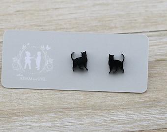 Black Acrylic Cat Stud Earrings - Cat laser cut earrings - Australian Seller
