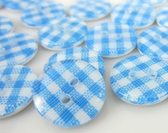 SET 10 BUTTON ROUND GINGHAM STRIPE CHECKERED BLUE AND WHITE