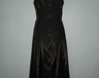 Vintage Full Length Button Up Sleeveless Black Dress Size Medium