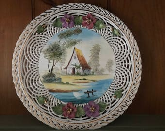 Super Intricate Lattice Work Hand Painted Porcelain Plate