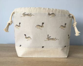 Sock knitting / crochet project bag - Linen Hare