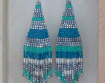 Faux Turquoise and Silver Seed Bead earrings, Long Faux Turquoise and Silver Earrings, Turquoise and Silver Seed Bead earrings