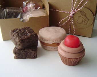 Sweet Treat Soap Gift  Set - Shaped soap, christmas, gift for her, macaron, cupcake, brownies, fake food, hostess gift, teacher gift, mom