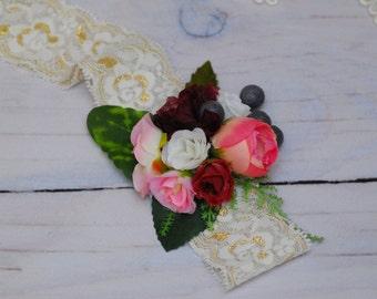 Pink flower Pink flower Flower halo Bridal Crown Woodland wedding Wedding hair accessory Wedding flower crown Flower crown Floral Wreath