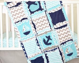 Nautical Bedding- Navy/ Turquoise/ Grey Crib Bedding- Whale Crib Bedding Set- Crib Size Rag Quilt/ Sheet/ Skirt/ Bumper- Anchor Crib Bedding