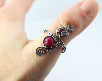 Red Jade Ring 'Paris' Sterling silver ring - Red gemstone ring- Steampunk ring - Gothic healing crystals - birthstone ring - medieval - jem