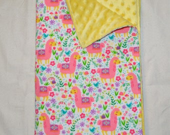 Minky Baby Blanket - Pink and Yellow Llamas Flannel / Yellow Minky