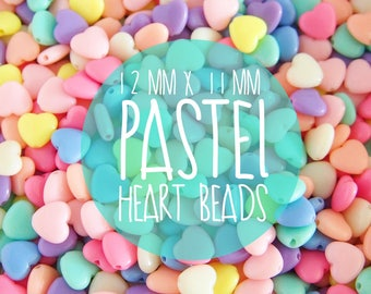 NEW 12mm x 11mm Pastel HEART Beads. Plastic/ Resin Beads - 100 pieces