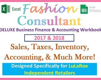 2017 & 2018 Fashion Consultant DELUXE Finance Accounting Excel Spreadsheet Workbook - Profit Revenue Inventory Sales Expenses Taxes and More