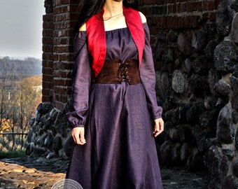Linen dress, fantasy medieval gown chemise kirtle gown , elves dress, medieval dress  with belt