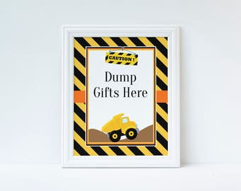 Construction Gift Sign, Construction Birthday Party, Construction Dump Gifts Here Sign, Construction Birthday Decorations, Instant Download
