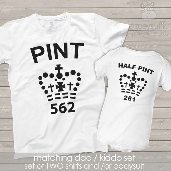 Super funny pint half pint matching dad and kiddo t-shirt or bodysuit gift set - great holiday or Father's Day gift MDF1-023 xazK8gJeX