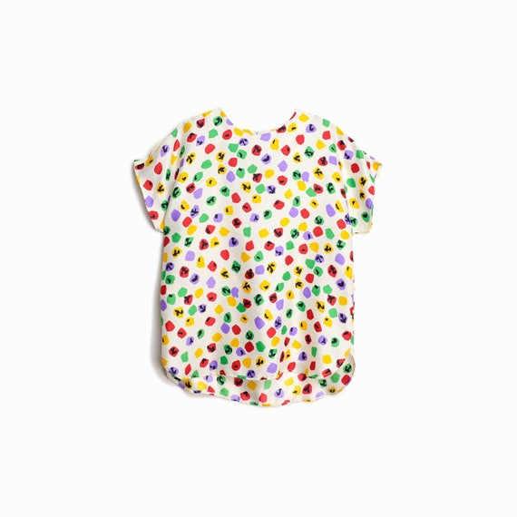 Vintage 80s Rainbow Polka Dot Blouse / White Confetti Dot Top / 80s Shirt - women's medium