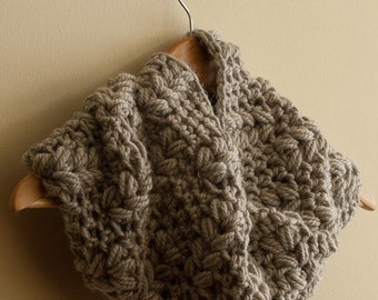 CROCHET PATTERN instant download - Viking Eternity Cowl - large chocolate brown beige infinity neck warmer grain tutorial PDF