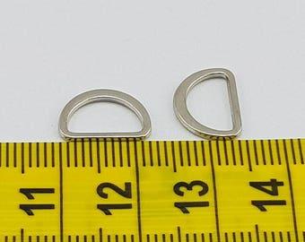Flat D-Ring 2pk  Silver 10mm