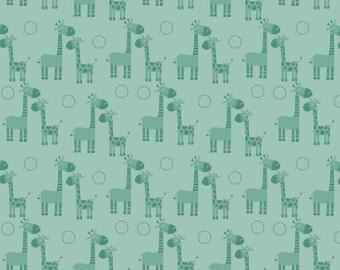 Aqua Giraffe Fabric Riley Blake Fabric, Giraffe Crossing C2852 Teal, Baby Quilt Fabric, Light Teal Baby Fabric, Cotton Giraffe Fabric, FQ