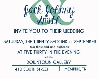 Modern, Simple Wedding Invitation (Printable)