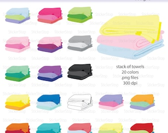 Folded Towels in a Stack Digital Clipart - Instant download PNG files - Rainbow towels laundry