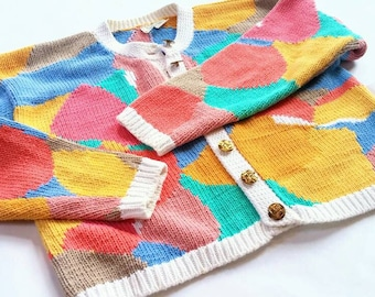 Vintage Abstract Pastel Color Block Knit Cardigan - CW Clifford & Willis small medium s m 2 4 6 8 - pink blue orange gold yellow green white