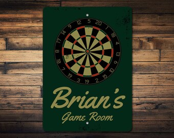 Dart Board Sign, Dart Room Sign, Dart Lover Gift, Man Cave Decor, Darts Decor, Game Room Sign, Game Room Decor - Quality Aluminum ENS100026