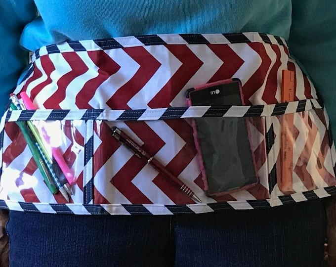 Utility Apron // Teacher Apron // Clear Pocket Apron // Craft Apron //Teacher Gift // Gift Idea // Under 20 // Red Navy ChEvRoN Gift idea