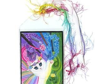 White Fairy Cat Bookmark Springtime Magic Rainbow Fairy Cat Bookmarker Fantasy Cat Art Mini Bookmark Gift For Cat Lover