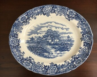 Vintage Blue and White Transferware Staffordshire English Village Platter by Salem China Co. England 12""