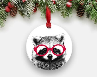 Clever RACCOON Holiday Ornament - Round Aluminum Circle Hanging Christmas Tree Ornament, Gifts Stocking Stuffers, Animal with Glasses Print