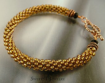 FREE SHIPPING - Beaded Kumihimo and Copper Bracelet