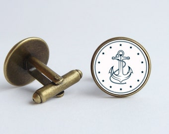 Anchor cufflinks Nautical jewelry Men cuff links Father gift Nautical cufflinks Ocean jewelry Sailor cufflinks Anchor jewelry Simple jewelry