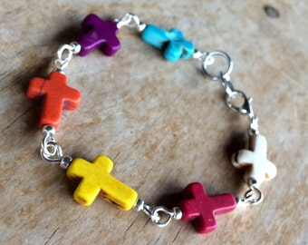 Multi-color howlite cross bracelet, handmade with howlite cross beads