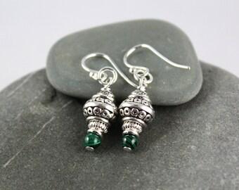 Malachite Earrings, Sterling Silver Ear hooks, Malachite Dangle Earrings, Drop Earrings, Green Gemstone Earrings, Yoga Jewelry, Heart Chakra