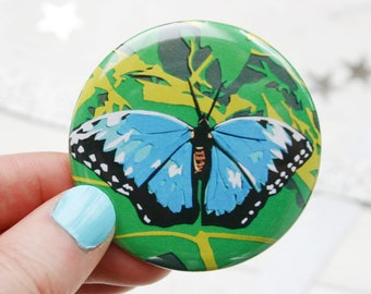 Blue Butterfly Pocket Mirror - Blue Morpho Butterfly Compact Mirror - Beauty Gifts For Her - Mother's Day Gifts - Gift For Her