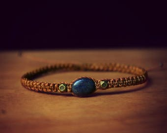 Bronze copper bracelet beads stone: Lapis Lazuli
