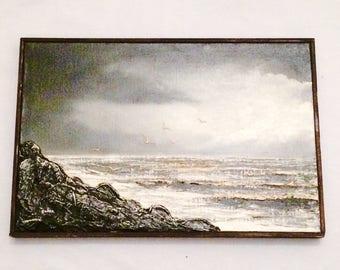 Caban Mixed Media Art,Hector Caban,Ocean Art,Framed Beach Art,Vintage Caban Wall Art