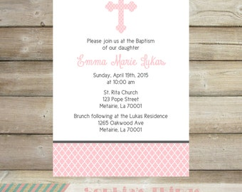 Pink and Gray Baptism Printable Invitation, Pink and Gray Christening, Religious, Moroccan Tile Print, Baby Baptism Invitation, Communion