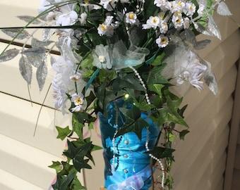 Beautiful Floral Arrangement, Home Decor, Wedding, Tiffany Blue